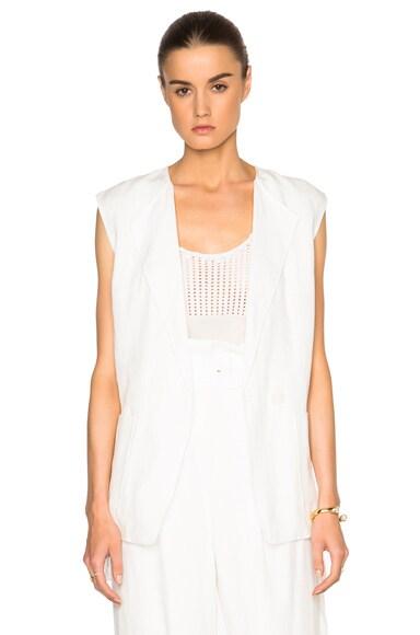 Tibi Linen Vest in Ivory