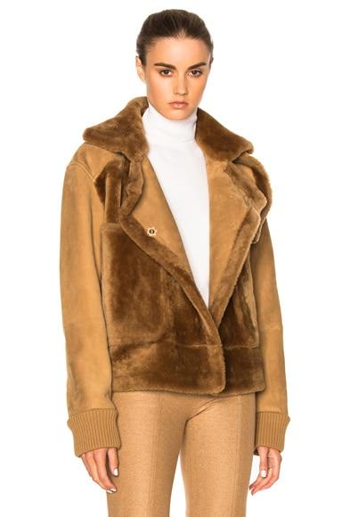 Tibi Sheep Shearling Aviator Jacket in Bear Brown