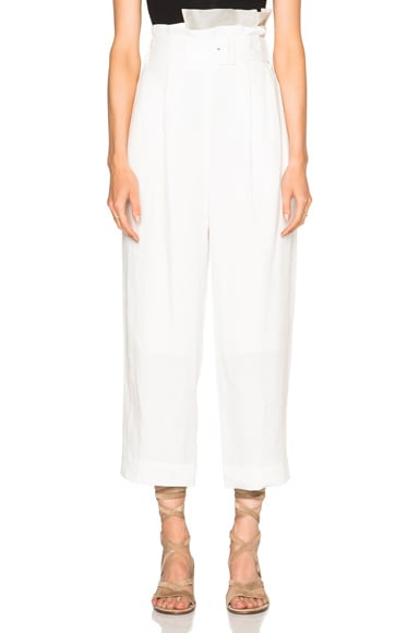 Tibi Paper Bag Pants in Ivory