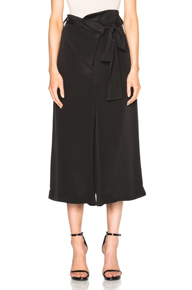 Tibi Pleated Wide Leg Pants in Black