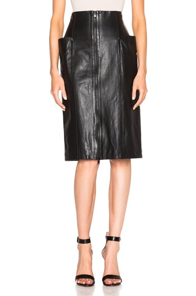 Tibi High Waist Leather Skirt in Black