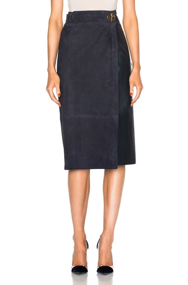 Tibi Suede Skirt in Navy