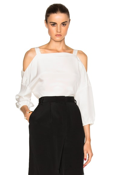 Tibi Cut Out Shoulder Top in Ivory