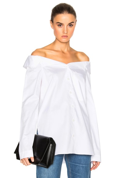 Tibi Notched Off Shoulder Shirt in White