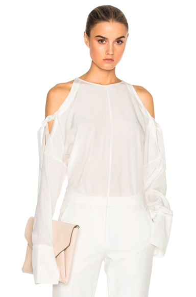 Tibi Cut Out Top in Ivory