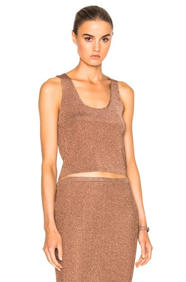 Tibi Cropped Sleeveless Top in Rose Gold