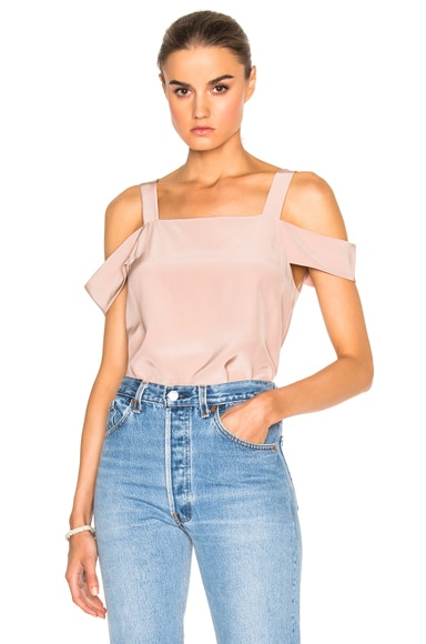 Tibi Cut Out Sleeve Top in Margaux