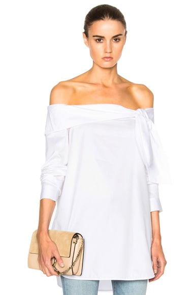 Tibi Off Shoulder Bow Top in White