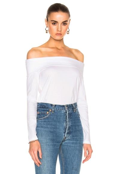 Tibi Mercerized Knit Top in White