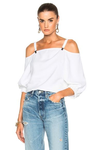 Tibi Twill Suspender Top in White