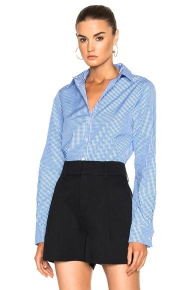 Tibi Gingham Slim Fit Shirt in Blue Multi