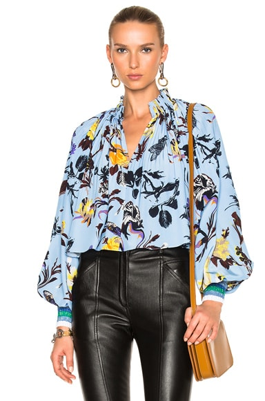 Tibi Gothic Floral Edwardian Top in Blue Multi