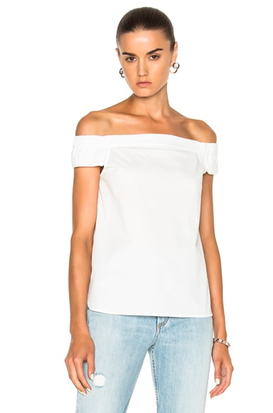Tibi Seersucker Off Shoulder Top in White