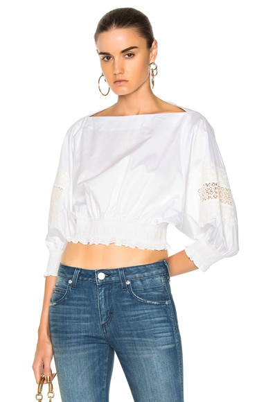 Cropped Embroidered Top