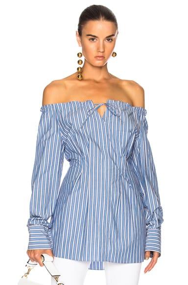 Striped Off Shoulder Top in Blue