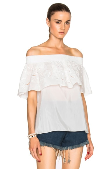 Tibi Off Shoulder Ruffle Top in Ivory