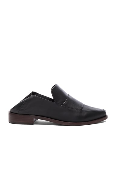 Tibi Leather Darla Loafers in Black