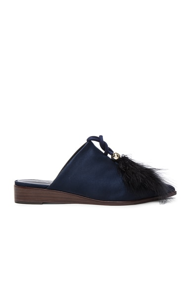 Tibi Satin Sofie Flats in Navy