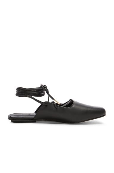 Tibi Leather Lila Slides in Black