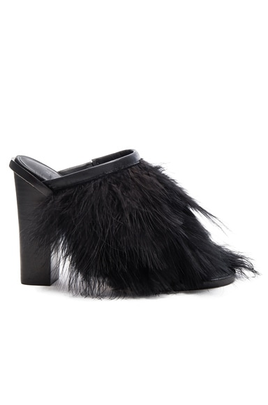 Tibi Bee Feather Mules in Black