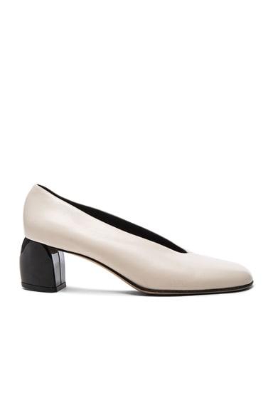 Tibi Leather Gene Heels in Ivory & Black