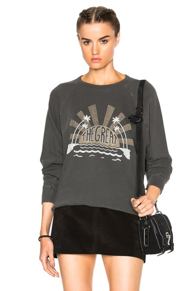 The Great Palm Sweatshirt in Washed Black With Caper Print