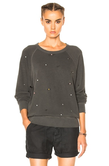 The Great College Multi Dot Embroidery Sweatshirt in Washed Black