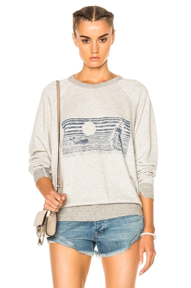 The Great Whale Graphic College Sweatshirt in Heather Grey & Navy