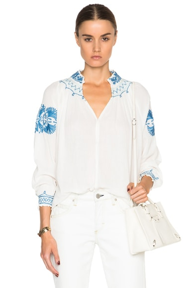 The Great Traveler Top in Cream & Blue