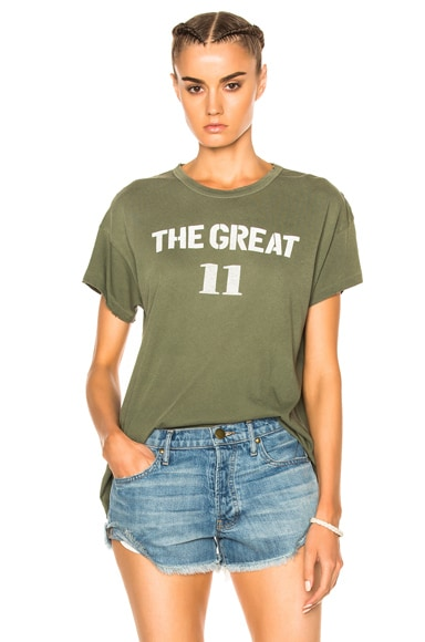The Great Boxy Varsity Tee in Army Green