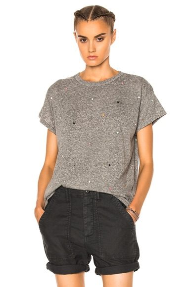 The Great Boxy Embroidered Dots Tee in Heather Grey & Multi