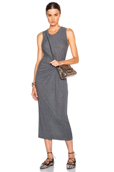 Thakoon Gathered Side Dress in Charcoal Grey