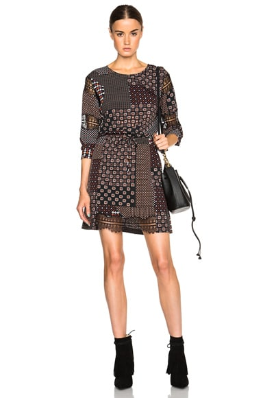 Thakoon Lace Sleeve Dress in Pink Multi