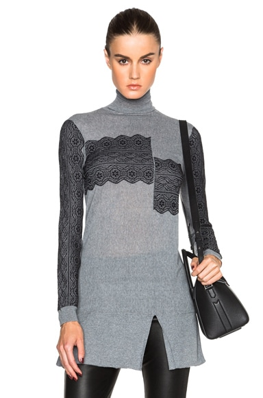 Thakoon Lace Crossover Turtleneck in Black & Charcoal