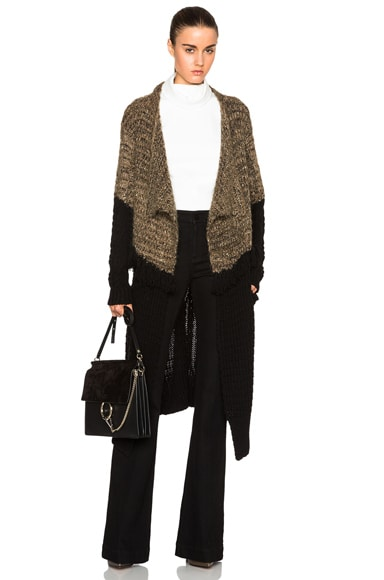 Thakoon Fringe Drape Front Cardigan in Black & Brown