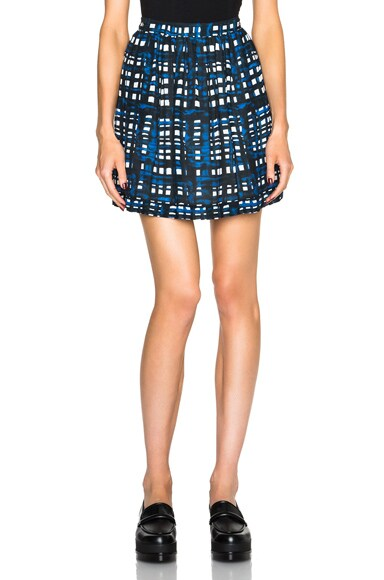 Thakoon Gathered Skirt in Navy Plaid