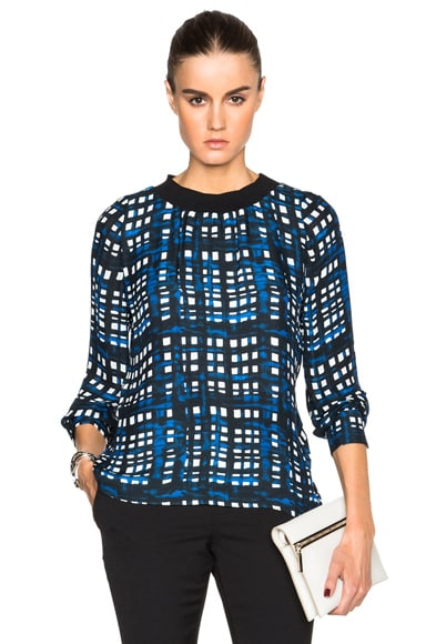 Thakoon Crewneck Top in Navy Plaid