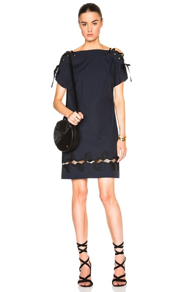 Thakoon Lace Shoulder Dress in Navy