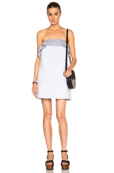 Thakoon Strapless Ruffle Mini Dress in Denim