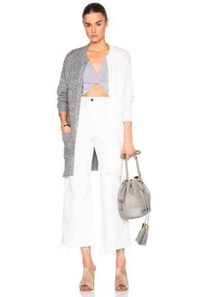 Thakoon Pocket Front Cardigan Sweater in Grey & Ivory
