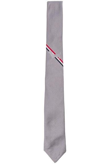 Thom Browne Classic Hector Stripe Tie in Medium Grey