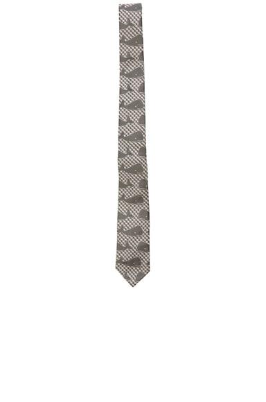Thom Browne Whale Houndstooth Tie in Medium Grey
