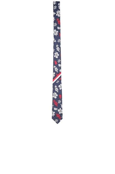 Thom Browne Hibiscus Silk Tie in Navy