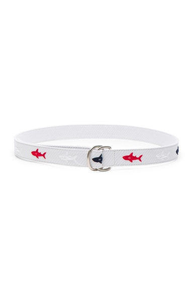 Shark Embroidered Seersucker Belt