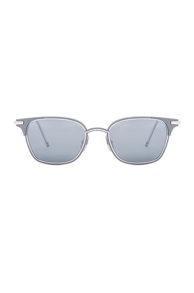 Thom Browne Square Frame Sunglasses in Matte Grey & Silver