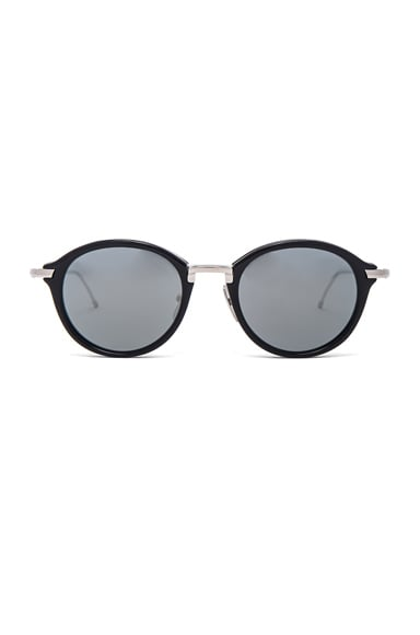 Thom Browne Round Sunglasses in Navy & Silver
