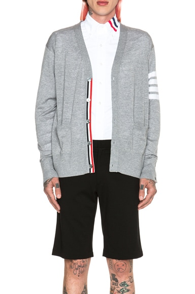 Wool Cardigan with Bar Stripe Sleeve