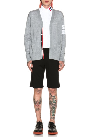 Wool Cardigan with Bar Stripe Sleeve