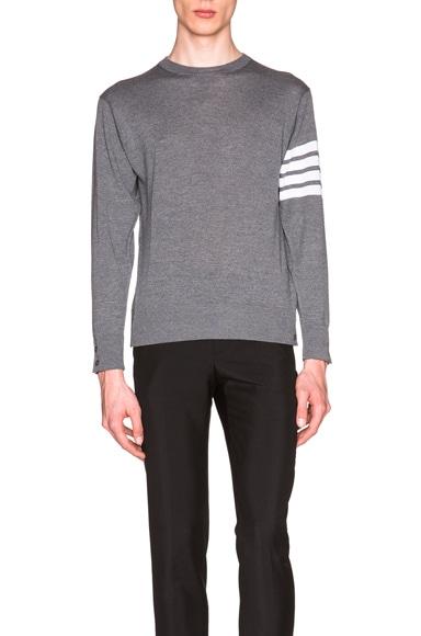 Thom Browne Classic Merino Crewneck Sweater in Medium Grey
