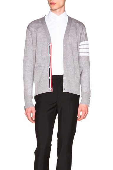 Thom Browne Classic V Neck Cardigan in Light Heather Grey
